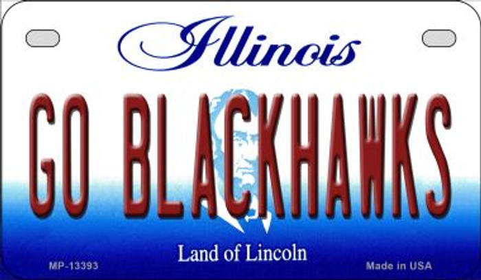 Go Blackhawks Wholesale Novelty Metal Motorcycle Plate MP-13393