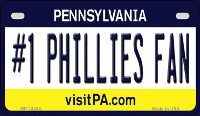 Number 1 Phillies Fan Wholesale Novelty Metal Motorcycle Plate MP-13494