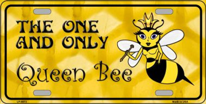Queen Bee Yellow Wholesale Metal Novelty License Plate LP-6873
