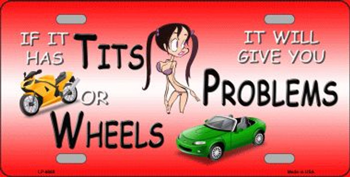 Tits Or Wheels Wholesale Metal Novelty License Plate LP-6889