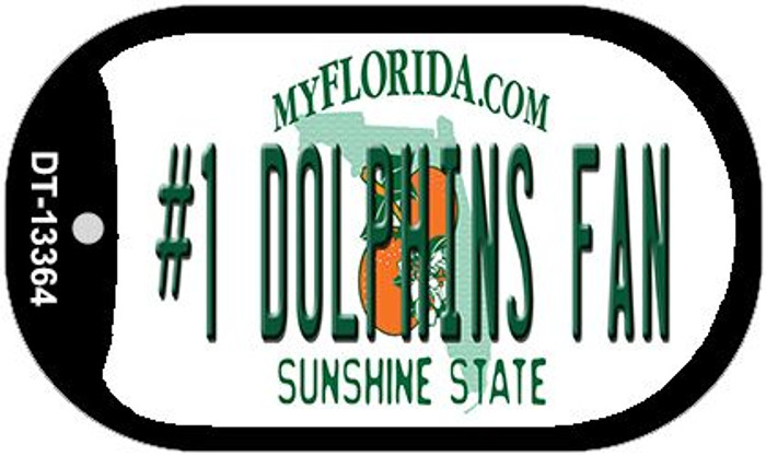 Number 1 Dolphins Fan Wholesale Novelty Metal Dog Tag Necklace DT-13364
