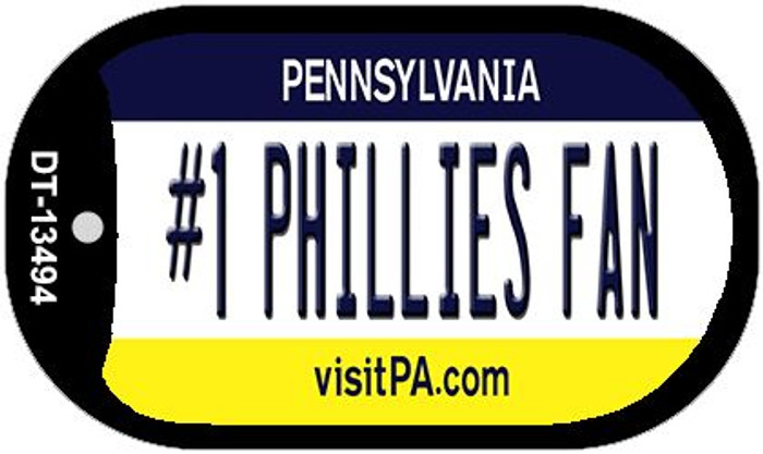 Number 1 Phillies Fan Wholesale Novelty Metal Dog Tag Necklace DT-13494