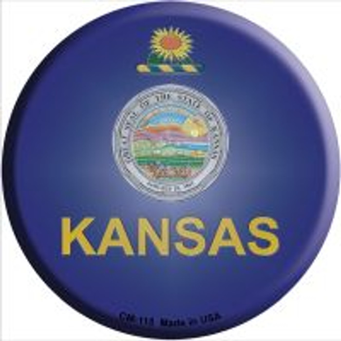 Kansas State Flag Wholesale Novelty Metal Mini Circle Magnet CM-115