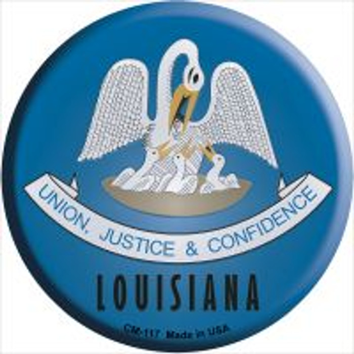 Louisiana State Flag Wholesale Novelty Metal Mini Circle Magnet CM-117