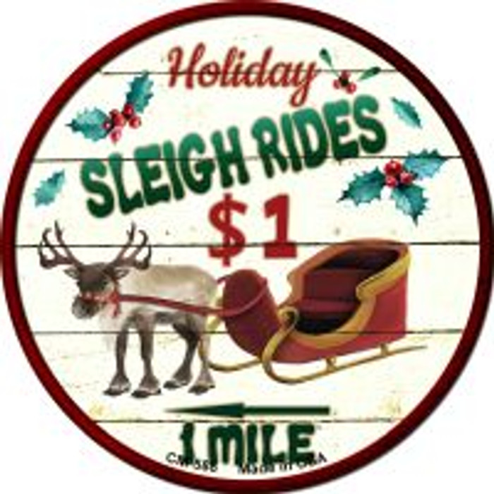 Sleigh Rides Wholesale Novelty Metal Mini Circle Magnet CM-588