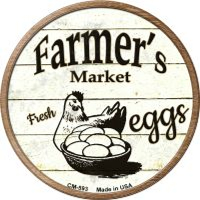 Farmers Market Eggs Wholesale Novelty Metal Mini Circle Magnet CM-593