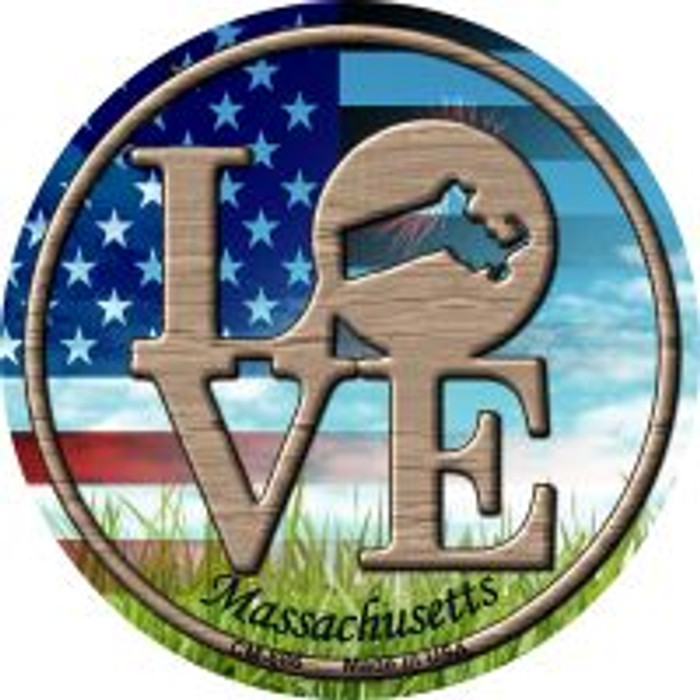 Love Massachusetts Wholesale Novelty Metal Mini Circle Magnet CM-686