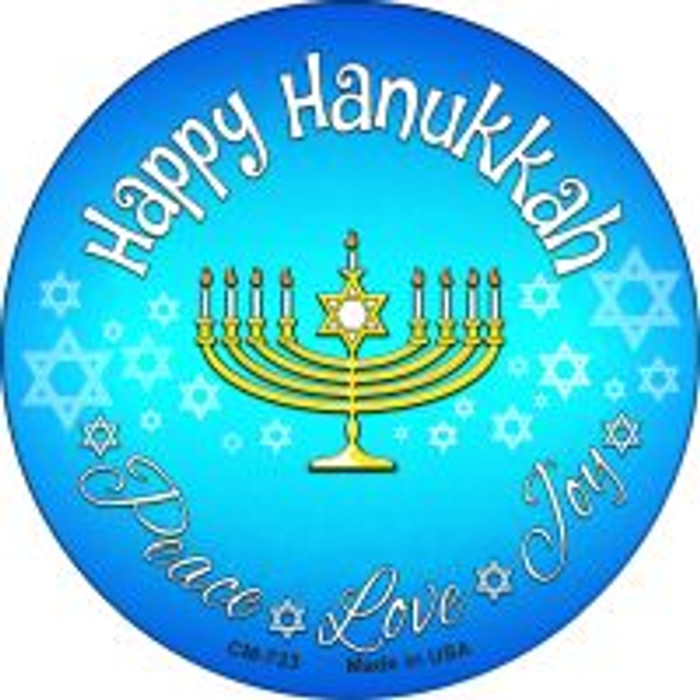 Happy Hanukkah Wholesale Novelty Metal Mini Circle Magnet CM-723