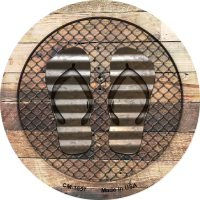Corrugated Flip Flops on Wood Wholesale Novelty Metal Mini Circle Magnet CM-1057