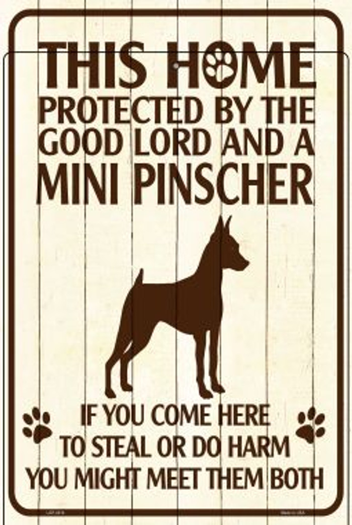 This Home Protected By A Pinscher Large Parking Sign Metal Novelty Wholesale LGP-2818