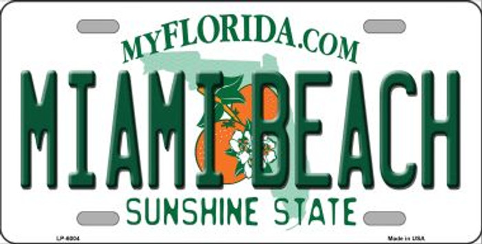 Miami Beach Florida Novelty Wholesale Metal License Plate LP-6004