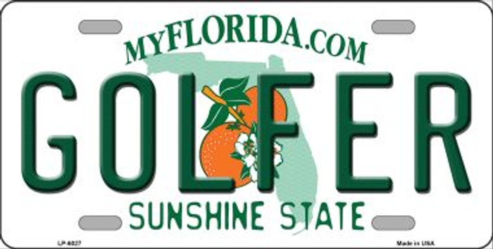Golfer Florida Novelty Wholesale Metal License Plate LP-6027