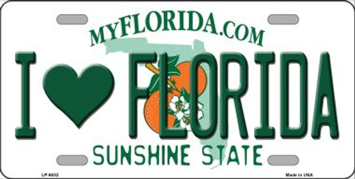I Love Florida Novelty Wholesale Metal License Plate LP-6032