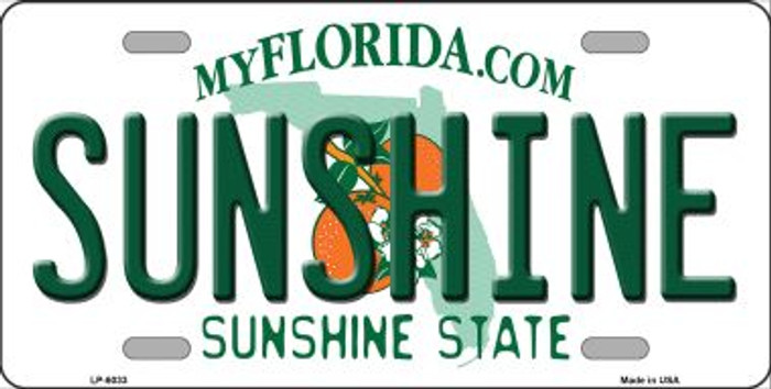 Sunshine Florida Novelty Wholesale Metal License Plate LP-6033