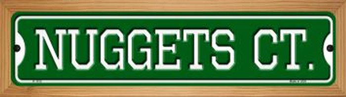 Nuggets Ct Wholesale Novelty Wood Mounted Small Metal Street Sign WB-K-1012