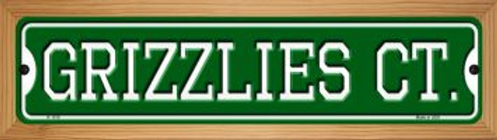 Grizzlies Ct Wholesale Novelty Wood Mounted Small Metal Street Sign WB-K-1019