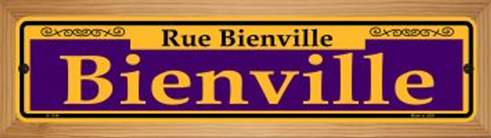 Bienville Purple Wholesale Novelty Wood Mounted Small Metal Street Sign WB-K-1144