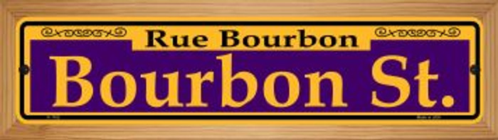 Bourbon St. Purple Wholesale Novelty Wood Mounted Small Metal Street Sign WB-K-1162