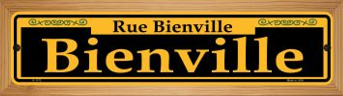 Bienville Yellow Wholesale Novelty Wood Mounted Small Metal Street Sign WB-K-1173