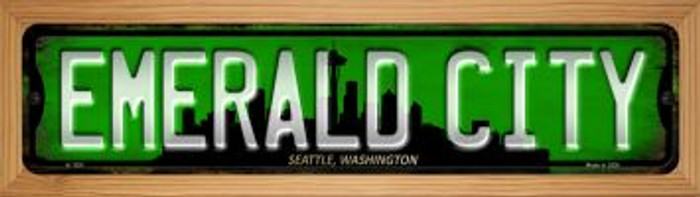 Seattle Washington Emerald City Wholesale Novelty Wood Mounted Small Metal Street Sign WB-K-1251