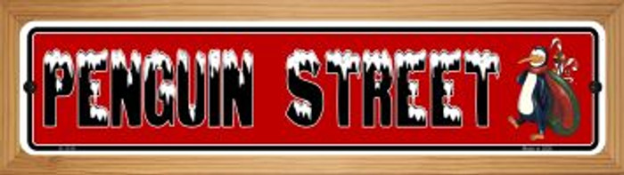 Penguin Street Wholesale Novelty Wood Mounted Small Metal Street Sign WB-K-1314