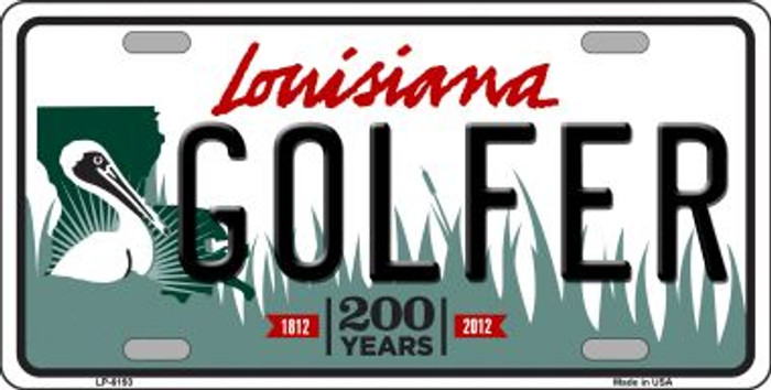 Golfer Louisiana Novelty Wholesale Metal License Plate