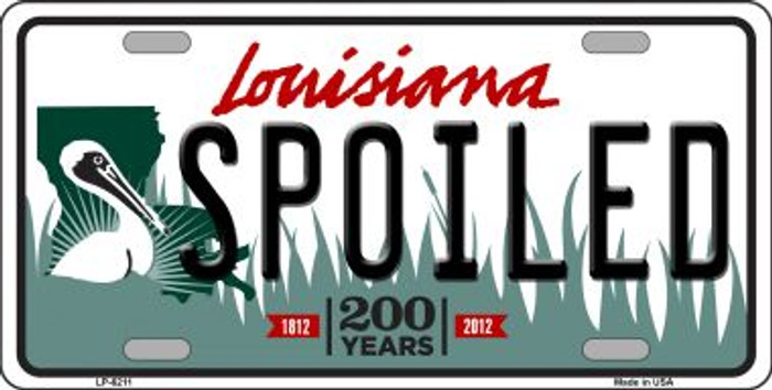 Spoiled Louisiana Novelty Wholesale Metal License Plate