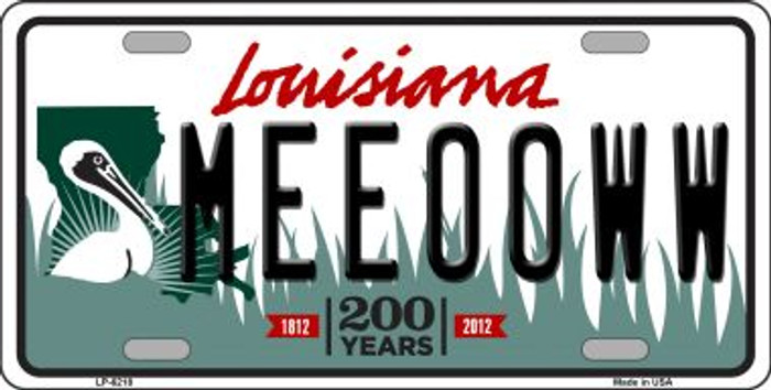 Meeooww Louisiana Novelty Wholesale Metal License Plate