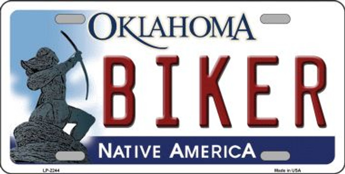 Biker Oklahoma Novelty Wholesale Metal License Plate LP-6244