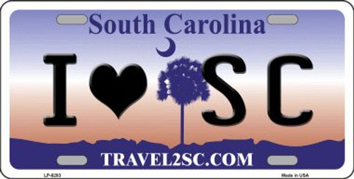 I Love South Carolina Novelty Wholesale Metal License Plate LP-6283