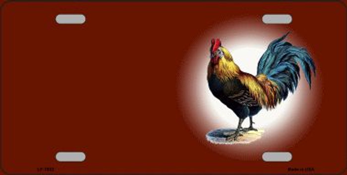 Rooster Offset Red Wholesale Metal Novelty License Plate
