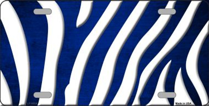 Blue White Zebra Oil Rubbed Wholesale Metal Novelty License Plate