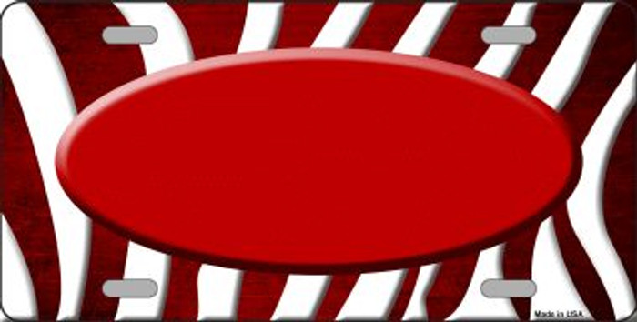 Red White Zebra Oval Oil Rubbed Wholesale Metal Novelty License Plate