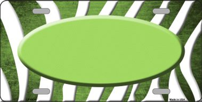 Lime Green White Zebra Oval Oil Rubbed Wholesale Metal Novelty License Plate