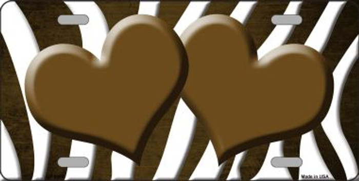 Brown White Zebra Hearts Oil Rubbed Wholesale Metal Novelty License Plate