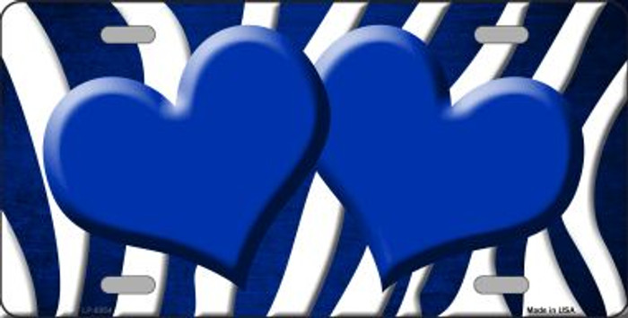 Blue White Zebra Hearts Oil Rubbed Wholesale Metal Novelty License Plate