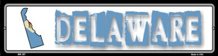 Delaware State Outline Wholesale Novelty Mini Metal Street Sign MK-307