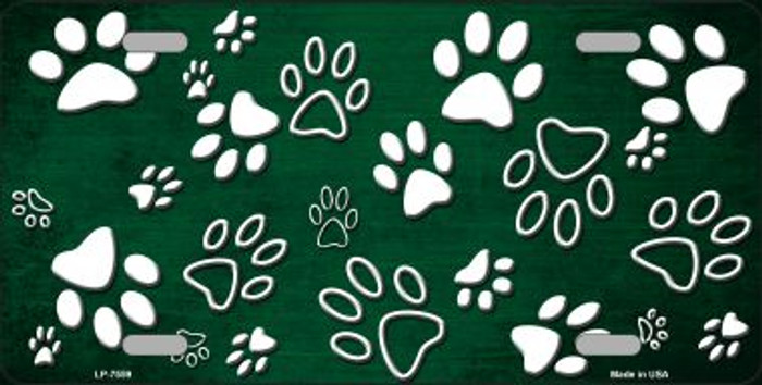 Green White Paw Print Oil Rubbed Wholesale Metal Novelty License Plate