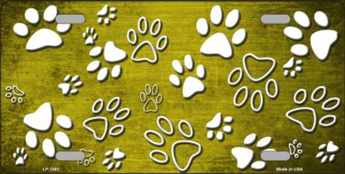 Yellow White Paw Print Oil Rubbed Wholesale Metal Novelty License Plate