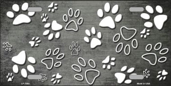 Gray White Paw Print Oil Rubbed Wholesale Metal Novelty License Plate