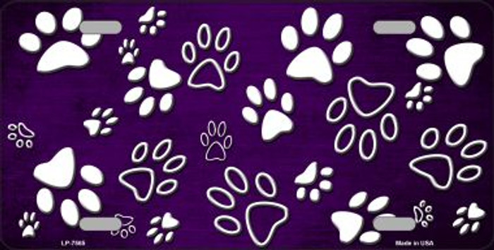Purple White Paw Print Oil Rubbed Wholesale Metal Novelty License Plate