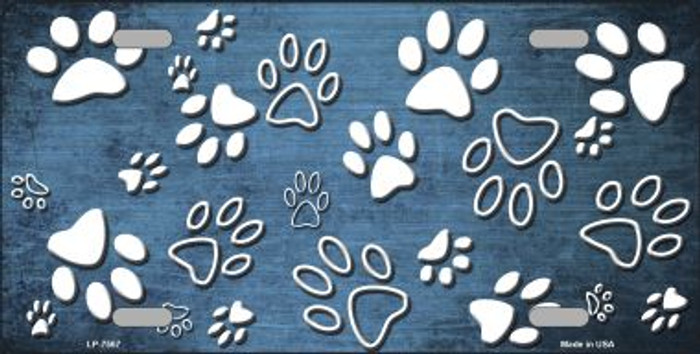 Light Blue White Paw Print Oil Rubbed Wholesale Metal Novelty License Plate