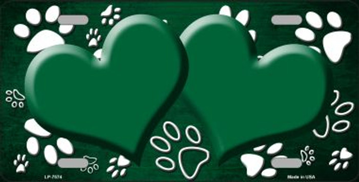 Paw Print Heart Green White Wholesale Metal Novelty License Plate