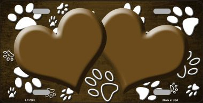 Paw Print Heart Brown White Wholesale Metal Novelty License Plate