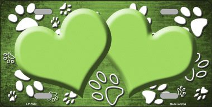 Paw Print Heart Lime Green White Wholesale Metal Novelty License Plate