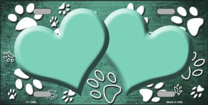 Paw Print Heart Mint White Wholesale Metal Novelty License Plate