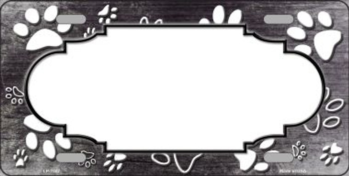 Paw Print Scallop Black White Wholesale Metal Novelty License Plate
