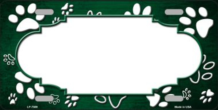 Paw Print Scallop Green White Wholesale Metal Novelty License Plate
