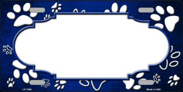 Paw Print Scallop Blue White Wholesale Metal Novelty License Plate