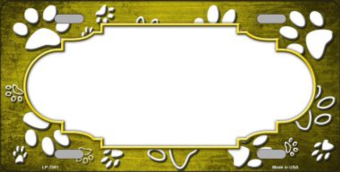 Paw Print Scallop Yellow White Wholesale Metal Novelty License Plate